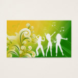 232 Dj Business Music Green Yellow Retro Dance Business Card