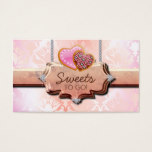 311 Cookies Bakery Cute Damask Peach Business Card
