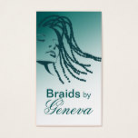Afrocentric Braids Hair Stylist - teal Business Card