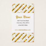 Asian Themed Gold Floral/Stripes Business Cards