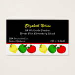 Black with Colorful Apples Teacher's business card