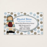 Blue and Tan Polka Dot Teacher's business card