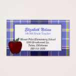 Blue Plaid Teacher's business card