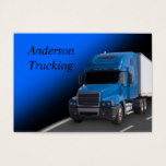 Blue Semi With Trailer, Business Card