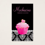 Classy Bakery Business Card Cupcake Damask Pink Bl