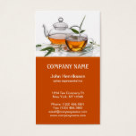 Cup of tea with teapot business card
