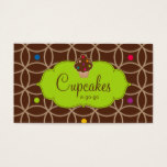 Cupcake Bakery Modern Dots Chocolate Lime Green Business Card