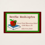 Cute Wormy Apple Teachers Business Card