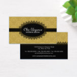 Elegant Black Lace and Baroque Business Card