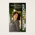 Funeral Music Coordinator Vocalist Photo Business Card