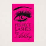 Hot Pink Eye Lashes Extensions Salon Card