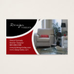 Interior Design Staging Modern Business Card Red