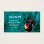 Music Business Card Guitar Red DJ
