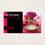 Pink Table Setting Catering Food Business Card