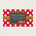 Polka Dots & Chalkboard Teacher's Business Card