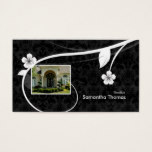 Real Estate Home Damask Business Card Floral Black