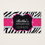 Sassy Zebra Stripe and Diamonds Business Card