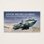 Soaring Retro Rocket Business Cards