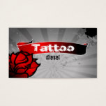 Tattoo Business Card Red Rose Gray