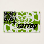 Tattoo Business Card Tribal Black Green White