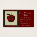 Teacher's Red Plaid Apple Business Card