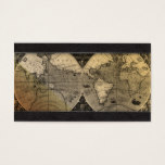 Travel Agent World Map Globe Black Leather Business Card